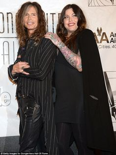 All in the family: Steven Tyler also brought along daughter Mia Tyler, who wore multiple layers of black and exposed her sleeve of tattoos Mia Tyler, Steven Tyler, Jordin Sparks, Joe Perry, All In The Family, Heaven Sent, Aerosmith, Wearing Black, Family Photos