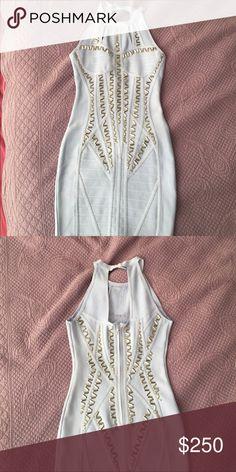 """Herve Leger"" baby blue sequined mini dress Brand New w/o tags!! small/medium Herve Leger Dresses Mini"