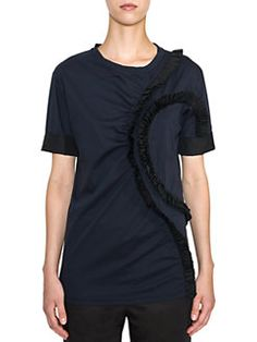 Jil Sander - Ruffled Cotton Jersey Short-Sleeve Tee