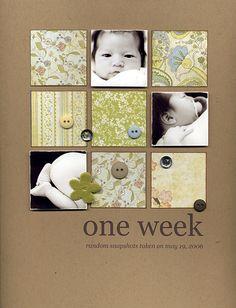 One Week...3 photo, baby layout