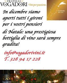 Vi aspettiamo in Canitna per i vostri pensieri di Natale!  www.VogadoriVini.it