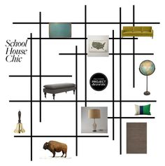 """""""School House Chic"""" by lovelysandy5 ❤ liked on Polyvore featuring interior, interiors, interior design, hogar, home decor, interior decorating, Safavieh, Surya, Crate and Barrel y ProjectDecorate"""