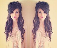 Formal hairstyle for long or medium length hair - half up half down!