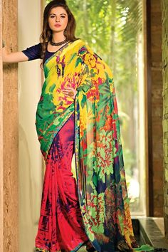9037ee78fd1441 Multicolour georgette saree Lehenga Saree