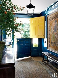 Dutch Door, design by Miles Redd, in Architectural Digest. I want this to replace the sliding glass doors in the back Architectural Digest, Beautiful Front Doors, Beautiful Space, Foyers, Entry Hall, Interior Exterior, Interior Architecture, Interiores Design, My Dream Home