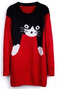 Suéter estampada gato-rojo EUR€22.81