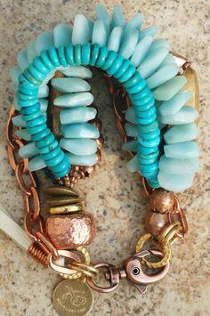 Hercules Bracelet: Blue Amazonite Disc, Turquoise and Copper Multi-Media Statement Bracelet