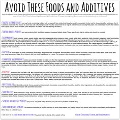 SAVE & PRINT ME!  Avoid these foods & additives on LID