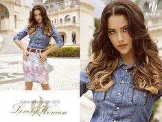 Linda camisa jeans com saia floral da coleção Inverno da Base Café!