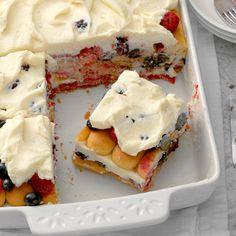 Mixed Berry Tiramisu - Taste of Home No Bake Summer Desserts, 13 Desserts, Italian Desserts, Summer Recipes, Delicious Desserts, Health Desserts, Patriotic Desserts, Easy Summer Meals, Baking Recipes