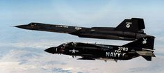 "VX-4's ""Vandy One"" with arguably the coolest paint job in military history chases an SR-71 over the Mohave Desert."