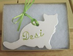 Cat Ornament Personalized 2 Shapes Available by LaurelArts