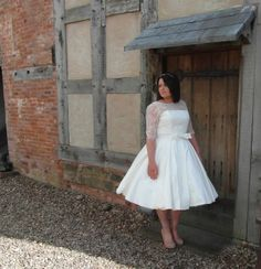 1950s style Tea Length Dress The Kelly Dress made in 100% silk and Chantilly lace. Handmade by Ryley & Flynn Vintage www.ryleyandflynn.co.uk