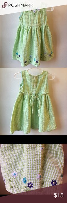 Seersucker Sundress Cute light green Seersucker dress with pretty flower appliqué. Gently used. Great condition. No stains or markings. Size 2T Dresses Casual