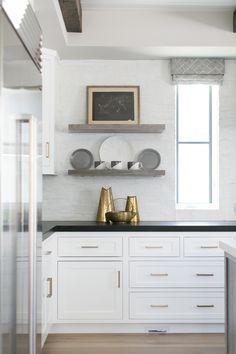 kitchen + white kitchen + built-in shelves