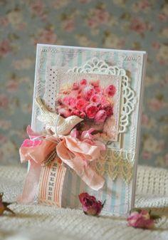 Vintage Cafe Card Challenge: Парад цветов. Пион. Ранункулюс.