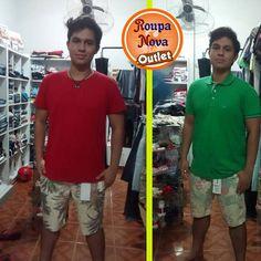 Camiseta vermelha 14,99, polo verde 24,99. Bermuda 119,99. Roupa Nova Outlet. #RoupaNova #Outlet #Moda #Fashion