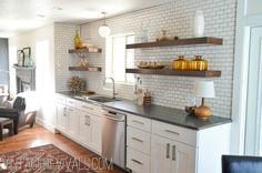Kitchen Makeover @ Vintage Revivals. Love the subway tiles with dark grout.