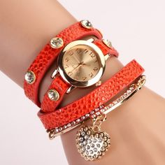 Fashion Women Casual Watches Crystal Faux Leather Strap Long Chain Quartz…