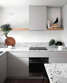 Kitchen Interior Design Terrazzo — a fixture of the that is making a major comeback. - Granite is great and all, but have you heard of basalt? Home Kitchens, Kitchen Design, Kitchen Inspirations, Kitchen Renovation, Kitchen Decor, Modern Kitchen, New Kitchen, Kitchen Remodel Countertops, Scandinavian Kitchen Design