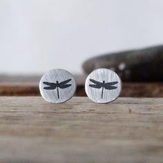 Drangonfly earrings. Stud earrings metalwork earrings by TassJoies