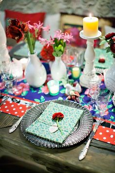 For that at-home feel, incorporate candles and prints into your tablescape