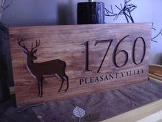 Wood Carved Address Plaque with a vizsla instead of the buck :)