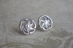Silver earring stud tiny earrings Vintage buttons by chezviolette