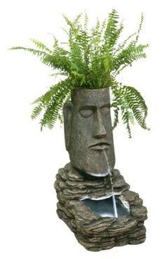 Solarbrunnen und Pflanztopf mit LED-Lichter - Osterinselkopf: Amazon.de: Garten