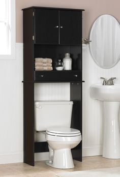 Ameriwood Espresso Bathroom Space Saver Check Out Mr Creative Using That Dead Space Above The Toilet For More Beautiful Storage