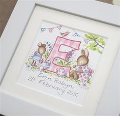Mini personalised letters - Shop Box Frame Art, Box Frames, Unique Christening Gifts, Name Paintings, Watercolor Christmas Cards, Embroidery Ideas, Nursery Wall Art, Pet Portraits, Textile Art