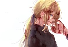 Find images and videos about cute, anime and anime girl on We Heart It - the app to get lost in what you love. Fanart Manga, Chica Anime Manga, Sad Anime, Anime Naruto, Fille Blonde Anime, Blondes Anime Girl, Violet Evergarden Wallpaper, Violet Evergreen, Violet Garden