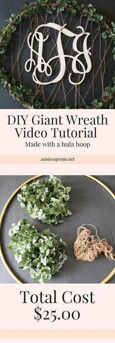 DIY Giant Wreath with Video Tutorial. This wreath is super simple to make and is made with a hula hoop!