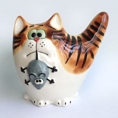 Кот мышелов. Размер фигурки 13х12 см