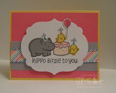 Lawn Fawn - Year Four, Year Three, Hello Sunshine 6x6 paper _  adorable card by Katherine _ Hippo Birdies with Cake! | Flickr - Photo Sharing!
