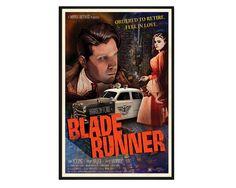 Blade Runner Noir Retro Alternative Movie Poster Print // 1940s 1950s Film Noir, Pulp Crime Movie Inspired Pop Art // Harrison Ford