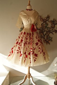 1950's embroidered silk organza dress by Rappi