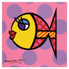 Dotty Fish, Art Print by Romero Britto Graffiti Painting, Painting Prints, Art Prints, Diy Painting, Arte Pop, Pop Art, Arte Country, Rainbow Fish, Paint By Number Kits