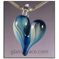 SALE Blue Glass Heart Pendant by Glass Peace $8.00