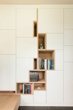 """With the popularity of bookshelves in the design, bookshelves have gradually become a display design for putting decorations and decorating the space mood. More and more families choose to install """"bookshelves"""" in the decoration process. Interior Architecture, Interior And Exterior, Room Interior, Modern Scandinavian Interior, Scandinavian Bookshelves, Modern Interiors, Cabinet Design, Cabinet Space, Interiores Design"""