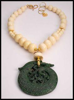 JADE DRAGON  Handcarved Jade Pendant  by sandrawebsterjewelry