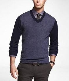 Express Fashion. I am really liking the fitted look with this sweater vest. Nice colors. Could wear this at work.