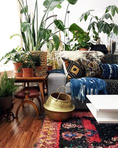 +the basket -maybe not in gold but whatever +the ethnical pillows +the bigest plants basket +the plants +the fluffy rug