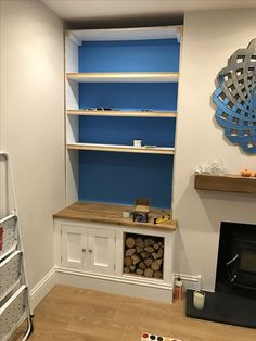 Great No Cost Fireplace Hearth storage Ideas left hand side of chimney breast to have cupboards and log storage like this. Living Room Storage, Home, Living Room Shelves, Living Room Decor, Living Room Cupboards, Alcove Shelving, Alcove Seating, Alcove Ideas Living Room, Victorian Living Room
