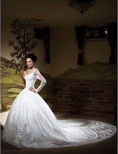 ZAKIA - Vestido de Noiva em Cetim - BRL R$ 605,59
