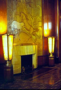 Art deco fireplace, RMS Queen Mary, Long Beach, California by Distraction Limited, via Flickr