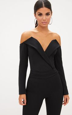 Shop our latest styles of dresses, tops, jeans, jumpsuits and much more at PrettyLittleThing. Female Tux, Style Noir, Black Tux, High Waisted Flares, Tuxedo Dress, Looks Black, Formal Looks, Black Bodysuit, Fashion Outfits