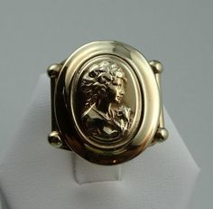 Vintage 14k Yellow Gold Cameo Style Expandable by rubylanejewelers, $960.00