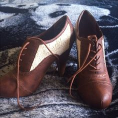 Charlotte Russe ankle booties Brown lace up ankle booties with adorable lace details on the side. Very minimum wear and in great condition. Charlotte Russe Shoes Ankle Boots & Booties