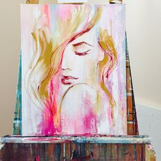 Pink October Painting Original Fashion Art Size by lanasfineart